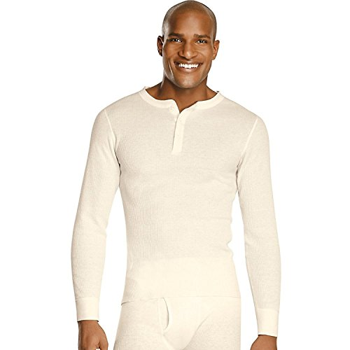 Thermal Henley Tee (Hanes X-Temp Men's Thermal Henley_Natural_L)