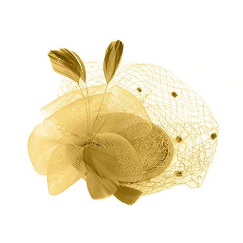 bloatboy  Feder Fascinators Hut Damen Ahorn Blatt Mesh Hochzeit Braut Elegant Fascinator Haarreif Cocktail Tee Party Damen Fasching Kostüm Accessoires (Gold)