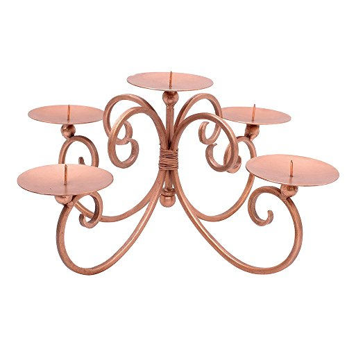 Rose Kupfer Deko 5Säule Kerzenhalter, Mittelpunkt Kandelaber. Ideal für Platzierung auf Esstisch für Gebrauch in den Mittelpunkt. Brillante Ergänzung für jeden Stil Home. Tolle Geschenkidee für einen lieben Menschen für - Kerzenhalter Esstisch