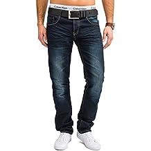 Jaylvis Herren Jeans (Slim Fit) Dunkle Jeanshose Blue Jeans Stretch Used Denim, leicht aufgehellt, Stone Washed H1663