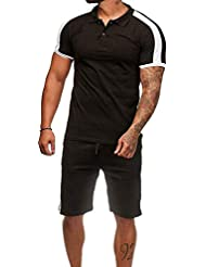 Conjunto de Chándal de Hombres Manga Corta Raya Camisa de Polo + Pantalones Joggers Sports Suits