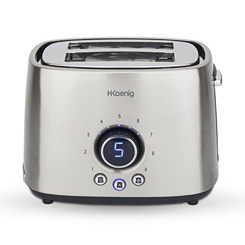 H.Koenig Grille Pain Toaster 2 Tranches TOS8 Fentes larges Inox, 9 Niveaux de brunissage, Décongélation, Rapide et uniforme, Minuterie numérique, Remontée extra-haute, Nettoyage facile, 1000W
