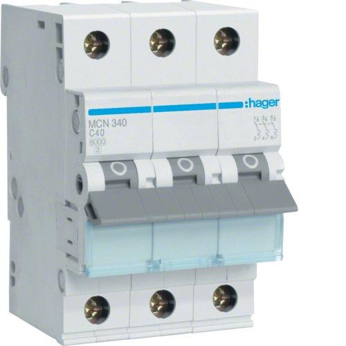 Hager MCN340 LS-Schalter 3P 6kA C-40A 3M Schraubtechnik (40 Wasser-heizung-gas)