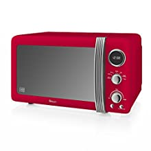 Swan Retro Digital Microwave, 800 W, Red