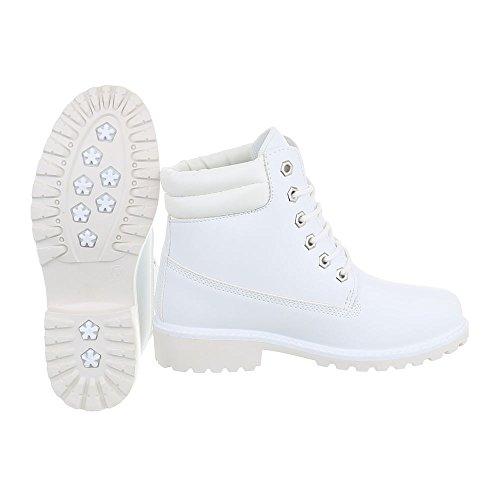 Stivaletti Allacciati Ital-design Stivali Da Donna Stivali Biker Blazer Tacco Alto Lace-up Bianco Fc8645