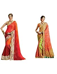 Mantra Fashions Women's Georgette Saree (Mant38_Multi)-Pack of 2
