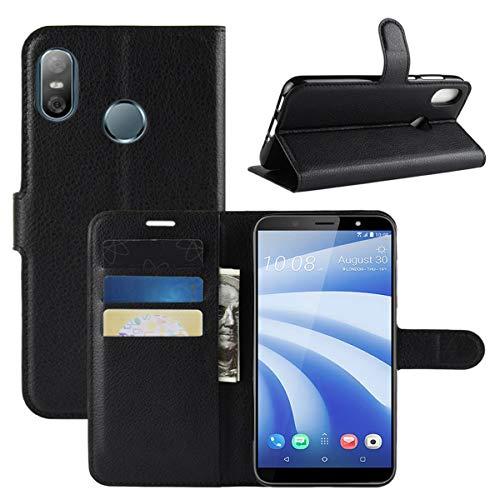 HualuBro HTC U12 Life Hülle, Premium PU Leder Leather Wallet HandyHülle Tasche Schutzhülle Flip Case Cover mit Karten Slot für HTC U12 Life Smartphone (Schwarz)