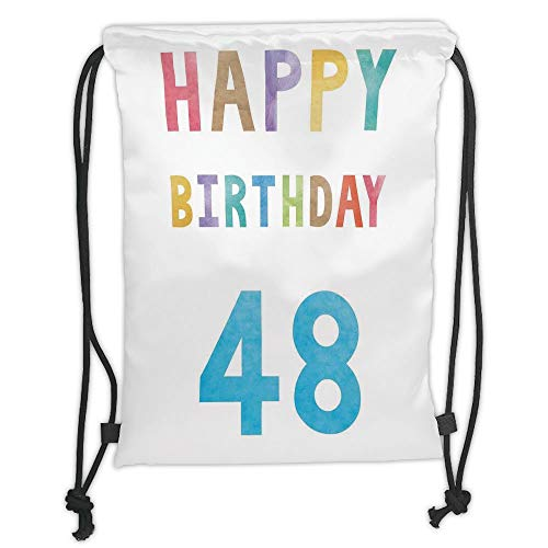 Fashion Printed Drawstring Backpacks Bags,48th Birthday Decorations,Simplistic Colorful New Age Celebration Number Paintbrush Image,Multicolor Soft Satin,5 Liter Capacity,Adjustable String Closure