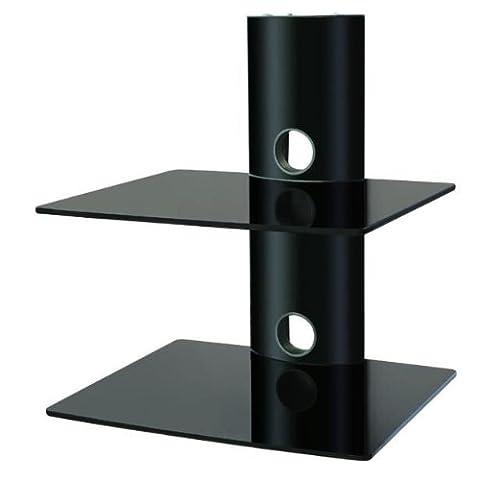 PROMOUNT Floating 2 Tier Black Glass Wall Mount Bracket Shelf for SKY BOX VIDEO DVD GAMES CONSOLE BLU RAY PLAYER - mounts under LCD LED PLASMA