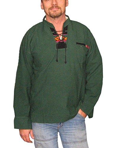 Alpacaandmore Peruanisches Herren Langarm Trachten Shirt 100% Pima Baumwolle (X-Large) (Peruanische Tracht)