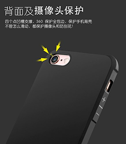 iphone 7 Hülle Case, XINYUNNEW iphone 7 Schwarz Case Silikon Soft TPU Crystal Premium Durchsichtig Handyhülle Schutzhülle Case Backcover Bumper Slimcase für iphone 7 Schwarz