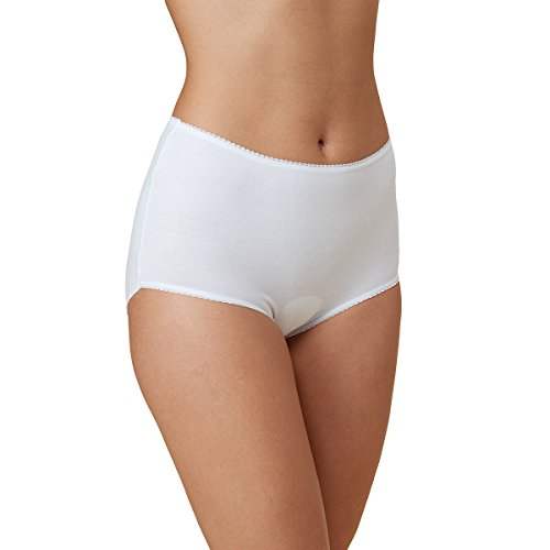 5PK Ladies Premium Cotton Rich Lycra Full Briefs,Womens Mama Panties,Maternity Knickers,Pure Cotton, Strech, Soft and Breathable,White,Size 14,by Vanever