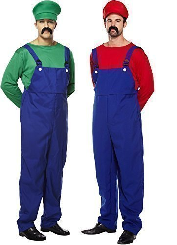 Uomo Coppia Adulto Super Mario E Luigi Idraulico 80s Videogames Film TV Vestito Da Festa Costumi Outfit