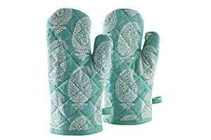 Amazon Brand - Solimo 100% Cotton Padded Oven Gloves Paisley, (Pack of 2, Blue)