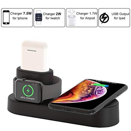 LOVEQIZI Schneller kabelloser Ladeständer für iPhone XS Max/Xs/XR/X / 8/8 Plus, 3-in-1-Ladestation für iPhone, Apple Watch Series 3/2/1 & AirPods, Ladestation für iWatch & EarPods,Black -