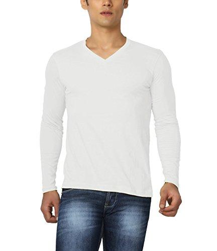 Joke Tees Solid Men's Perfect Vee Long T-Shirt(White) (XX-Large)