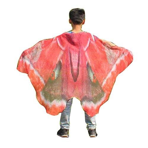 (YWLINK Karneval Chiffon Jungen MäDchen Schmetterling FlüGel Drucken Umhang Klassisch Cosplay ZubehöR Kind Weihnachten Halloween Schal Pashmina KostüM ZubehöR(147 * 100CM,A Rot))