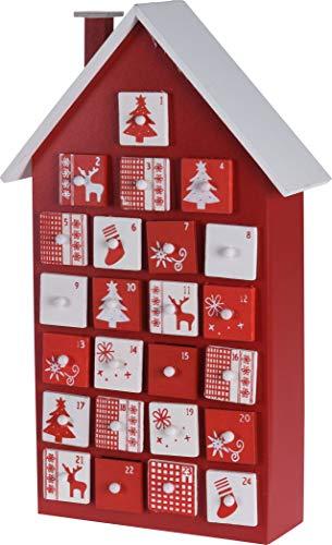 Spetebo Holz Adventskalender Haus mit 24 Boxen - 40 cm - Weihnachtskalender zum befüllen