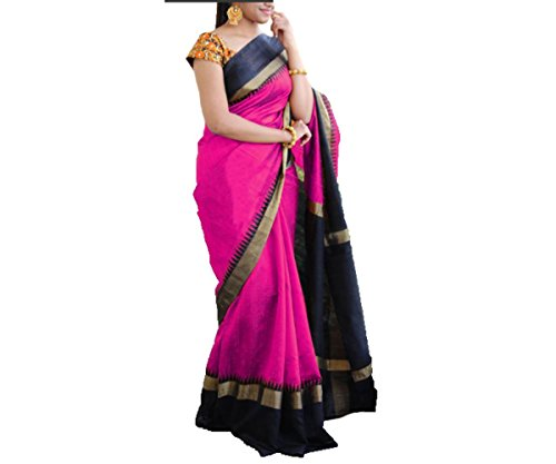 Shagun sarees women's georgette saree(pink & black)