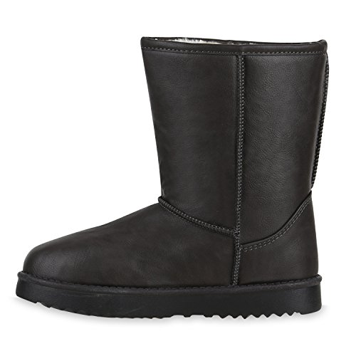 Warm Gefütterte Damen Stiefel Schlupfstiefel Boots Stiefeletten Grau All