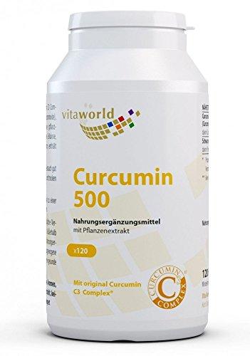 Vita World Curcumin 500 120 Vegi Kapseln Curcumin C3 Complex® Apotheker-Herstellung 95 % Curcuminoide schwarzer und Pfeffer Extrakt 50:1 Curcuma-Wurzelextrakt Curcuma