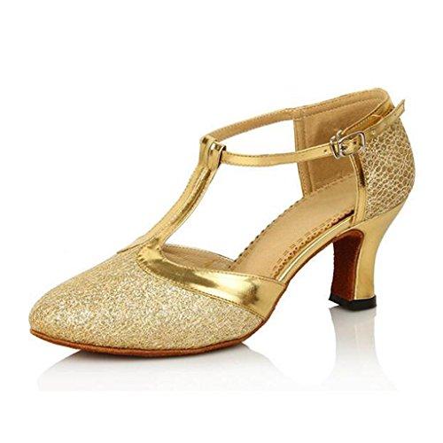 W & Lm Miss Dance Chaussures Chaussures De Danse Latine Mesh Surface Moderne Dans Le Talon Bouton Doux Or Ballerines