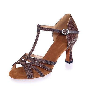 Silence @ Chaussures de danse pour femme Paillettes étincelante Paillettes scintillantes latine Sandales évasée Heelpractice/Professional/intérieur/ Silver