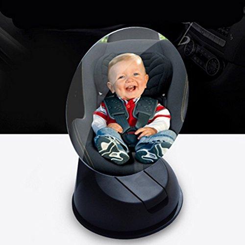 Bestja Mini Auto Babys Rücksitzspiegel Rückspiegel Babyspiegel Baby Spiegel mit Saugnapf für Autositz, 360 Grad Einstellbar SUV Babyschalenspiegel Sicherheitsspiegel Babyspiegel für Babyschalen Kindersitz (75MM, Schwarz)
