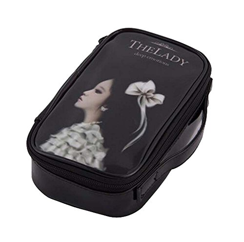 Classique Haute Qualité PU Cuir Maquillage Case Cosmetic Bag