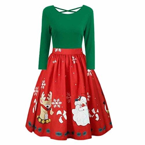 übergröße Kleider damen Kolylong® Frauen Elegant Weihnachten Langarm Kleid Vintage Rückenfrei Kleid Plus Size Maxikleid Swing Kleid Cocktails Party kleid Abendkleid (Grün, XXL)
