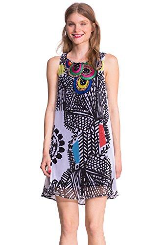 Desigual Damen Cocktail Kleid Natalia, Knielang, Kariert, Gr. 42 (Herstellergröße: 44), weiß...