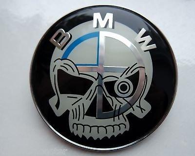 B M w Tête de mort 82mm badge Emblème Chrome Capuche/Trunk, Coffre de remplacement Bonnet badge Emblème