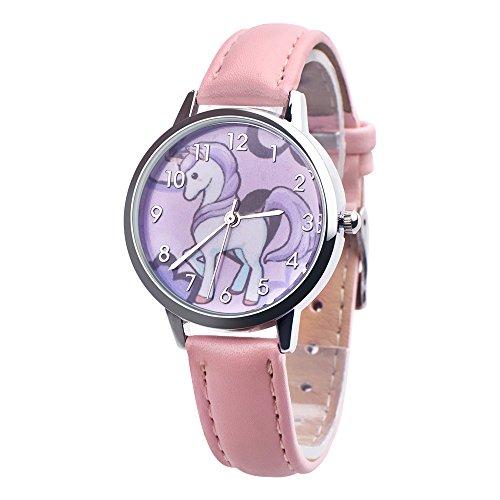 Souarts reloj pulsera cuarzo Analog Reloj unicornio Cartoon impermeable correa de piel sintética para niños estudiantes rosa