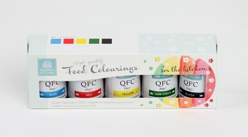 Squires Kitchen - Kit 5 coloranti gel colori blu, giallo, verde scuro, nero e rosso