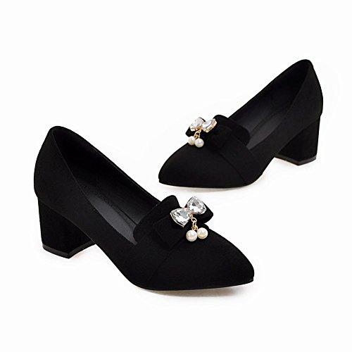 Mee Shoes Damen chunky heels Nubukleder Strass Pumps Schwarz