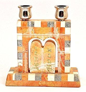 Leuchter Made in Jerusalem Drei Farben Marmor Steine mit zehn Gebote