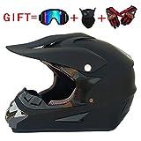 CHEYAL Adult DOT Genehmigt Motorradhelm Motocross Helm ATV Roller Helm Mit Brille Off-Road-Handschuhe Und Maske,L