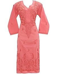 Lucknowi Chikankaari Red Designer Needle Craft 100% Soft Cotton 46 Inches Long Kurta.