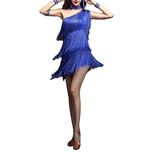MISHUAI Tanzkleid für Damen Frauen Funkelnde Quasten Latin Dance Kleid Outfit eine Schulter Tango Rumba Ballsaal Leistung Perlen Fringe Flapper Kleid Kostüme Tanz Performance Rock