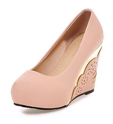 VogueZone009 Femme Matière Souple Tire Rond à Talon Haut Couleur Unie Chaussures Légeres Rose