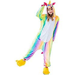 Unicornio Pijamas Cosplay Unicorn Disfraces Animales Franela Monos Unisex-adulto ropa de dormir Disfraces de fiesta (S, Arco iris)