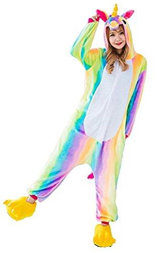 Mystery&Melody Süßes Einhorn Overalls Jumpsuits Pyjama Fleece Nachtwäsche Schlaflosigkeit Halloween Weihnachten Karneval Party Cosplay Kostüme für Unisex Kinder und Erwachsene (S, Regenbogen ()