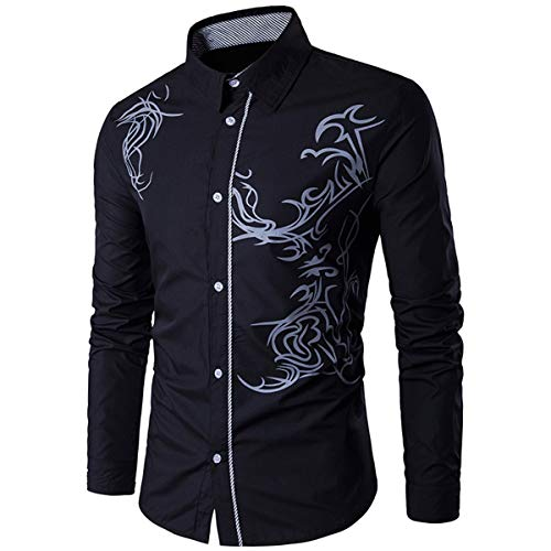 BOKlzZ Manera de la impresión del dragón Delgado, Negro, L Camisa Bambú Fibra Hombre, Manga Larga, Slim Fit, Camisa Elástica Casual/Formal para Hombre