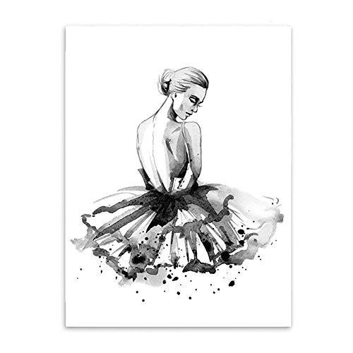 Tangbasi® Ballerine Murale Moderne sur Toile Peinture de décoration Murale pour Home Decor, Toile, Blanc/Noir, 21x30cm