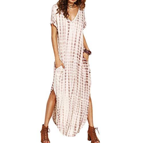 002 Frauen Kurzarm Gradient Split Long Maxi Sommerkleider Sommerkleid mit Taschen (Color, Size : L)