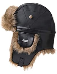 3c0da4b7f96 Faux Leather Trapper Warm Fur Hat Ushanka Russian Bomber Hunting Hat  Quilted Cotton Lined Waterproof