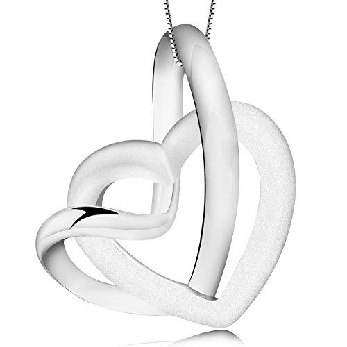 Timoo Damen Halskette mit Anhänger Herz 925 Sterling Silber Kette Zirkonia Geburtsstein (Just In Strass Married)