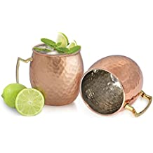 Dungri India Barrel Hammered Copper Moscow Mule Mug, 18 oz - Set of 2 - Handmade of 100% Pure Copper, Nickel Lined, Brass Handle
