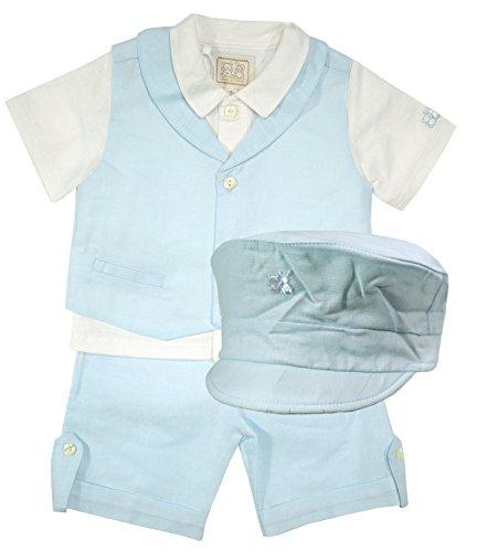 cher Leinen-Anzug mit Hemd, Weste, Shorts & Cap hellblau für Jungen, Festmode für Taufe & Hochzeit, Gr. 80 ()