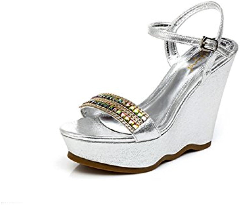 BaiLing Sandali di estate delle donne cunei tallone impermeabile strass strass strass di fondo strato piccole dimensioni scarpe... | Prezzo ottimale  | Gentiluomo/Signora Scarpa  f21acf